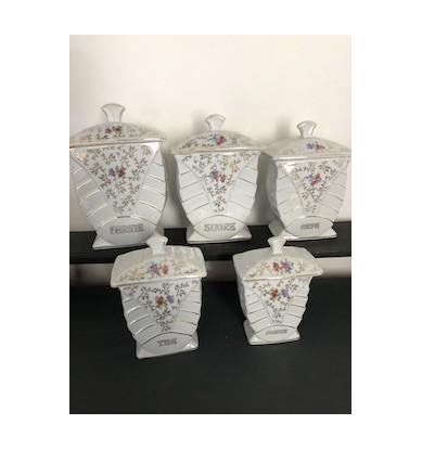 Série de 5 pots à épices, décoration de cuisine, art déco