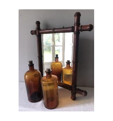 Ancien miroir cadre bambou